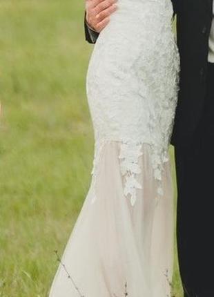 Свадебное  вечернее выпускное платье - бюстье цвета шампанског...