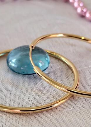 Позолоченные серьги-кольца d 4 см, сережки, позолота