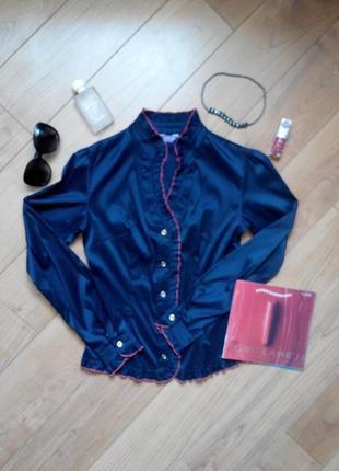 Стильная рубашка темно синяя