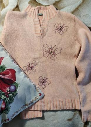 Женский теплый плотный шерстяной свитер кофта джемпер ангора б...