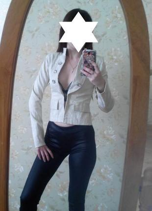 Оригинальный жакет кардиган пиджак молочного цвета