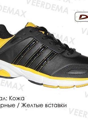 Кожаные кроссовки подростковые demax румыния черные 37-41