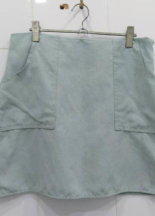 Мятная юбка трапеция под замш с карманами