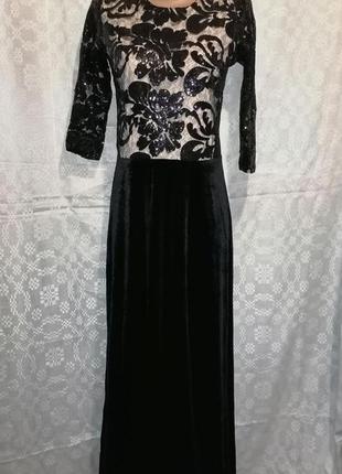 Вечернее  велюрове платье   в пол 44 размер 👑👑