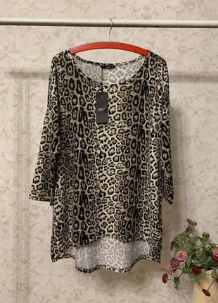 Тонкий удлиненный свитер леопардовый принт only, новый!