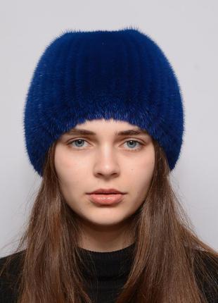 Женская норковая шапка на вязаной основе шарик бабочка синяя (...