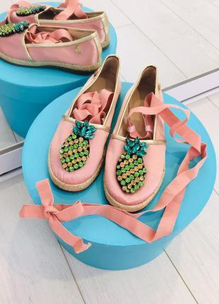 Италия стильные балетки - пуанты туфли с ананасами италия