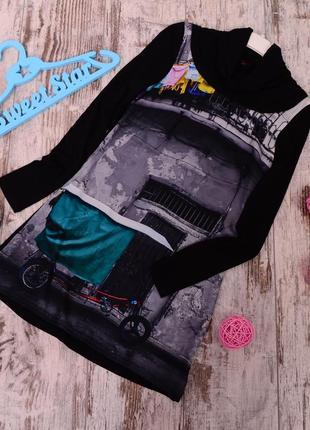 Туника-платье с оригинальным принтом