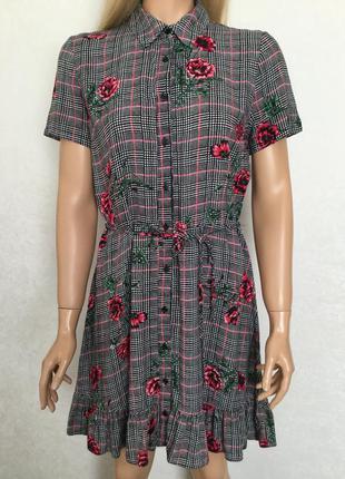 Платье халат в клетку и цветы redherring размер 10