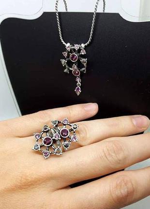 Элегантный набор: кольцо и кулон на цепочке, яркие кристаллы и...