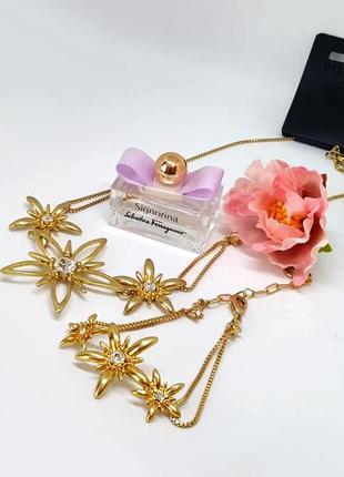 Шикарный набор колье и браслет с цветами и кристаллами золото ...