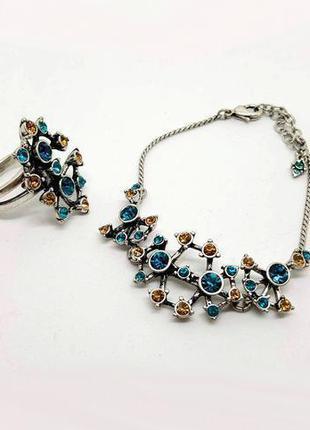 Яркий праздничный набор: кольцо и браслет, кристаллы посеребре...