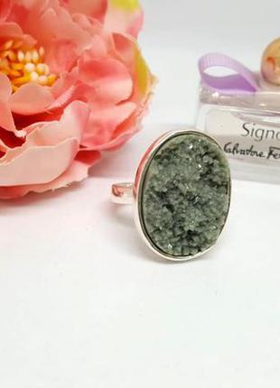 Супер кольцо с серо-зеленым камнем искусственная друза посереб...