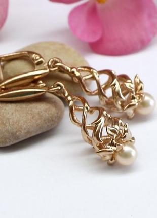 """Позолоченные серебряные серьги """"спирали"""" с натуральным жемчуго..."""