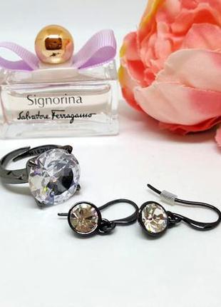 Набор: кольцо и серьги со сверкающими кристаллами и гематитовы...