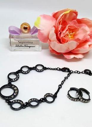Набор: серьги-колечки и браслет с кристаллами и гематитовым по...