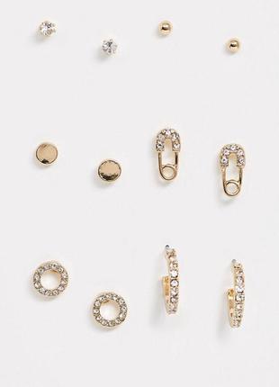 ☀️ набор сережек-гвоздиков с кристаллами колечки, булавки, кол...