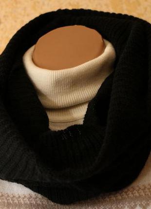 Женский черный вязаный шарф-снуд от takko fashion германия