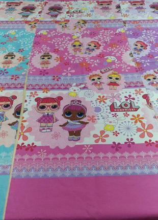 Постельный комплект для девочки с куклой лол розово-голубое