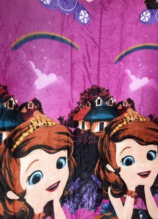 Детский плед покрывало для девочки принцесса софия