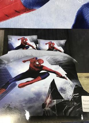 Детский постельный комплект полуторный для мальчика человек паук