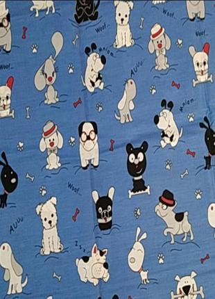 Детское постельное собачки на синем бязь голд