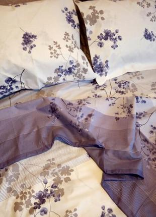 Постельный комплект цветы сакура бязь голд