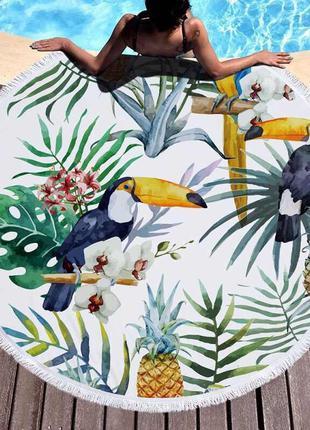 Круглое пляжное полотенце покрывало ананас