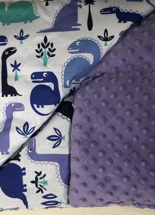 Покрывало плед минки в детскую кроватку коляску динозаврики