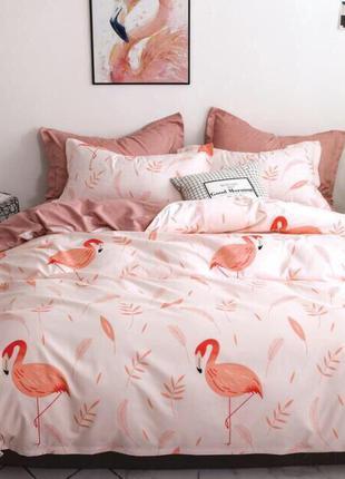 Постельный комплект сатиновый фламинго