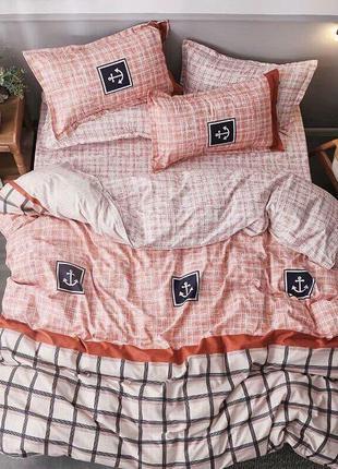 Сатиновый постельный комплект якорь