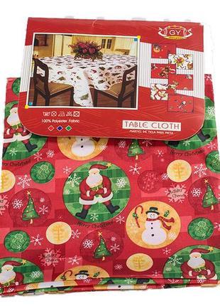 Атласная новогодняя скатерть на большой стол