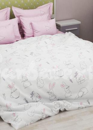 Бязевый постельный комплект зайчики