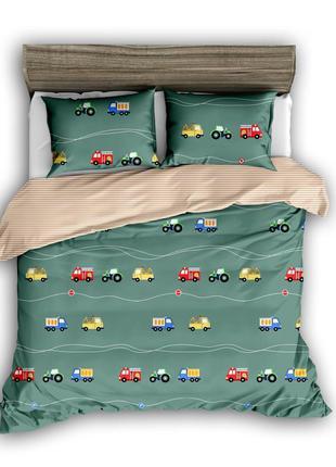 Детский постельный комплект сатиновый с машинками для мальчика