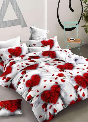 Постельный комплект розы сердца красно белый ранфорс