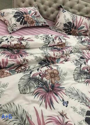Бязевое постельное белье с цветами