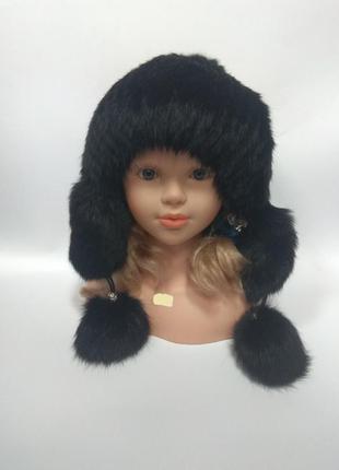 Женская шапка из меха кролика