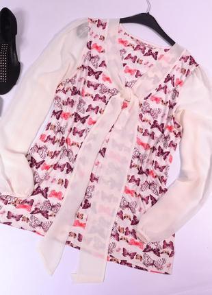 Комбинированная блуза с бабочками next