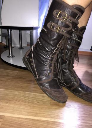 Стильные кожаные сапоги/темный шоколад/коричневый