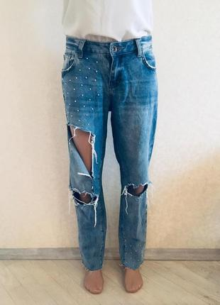 Бойфренды женские джинс стильные бойфренды:рванки бренд boyfri...