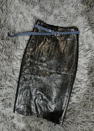 Шикарная новая турецкая юбка бренд zara  под лаковую кожу