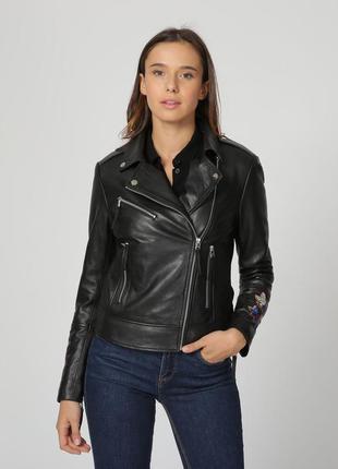 Новая кожаная косуха с вышивкой isaco, италия. кожаная куртка ...