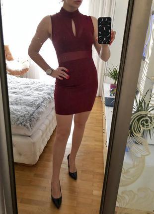 Платье бандажное с сеткой boohoo размер м {38}