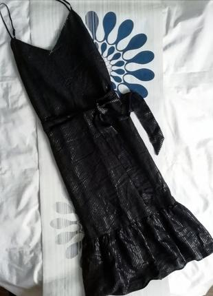 Черный сарафан миди макси черное платье с v-вырезом чорна сукн...