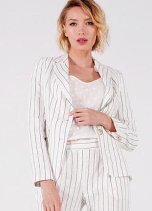 Базовый приталенный пиджак жакет белый в полоску 42-44