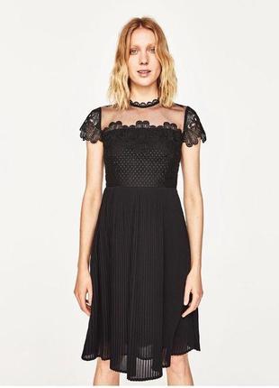 Красивенное платье с кружевом zara eur р.l mex 30
