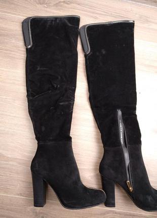 Сапоги сапожки на каблуке черные