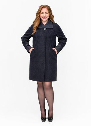 Скидка! женское демисезонное синее пальто батал