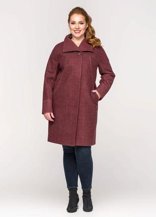 Скидка! женское демисезонное пальто батал цвет марсала