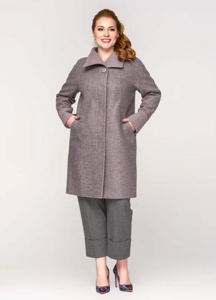 Скидка! женское демисезонное пальто батал цвет пудра